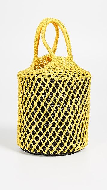 Sensi Studio Macrame Straw Bucket Bag