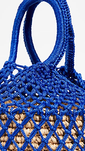 Sensi Studio Macrame Straw Bucket Bag