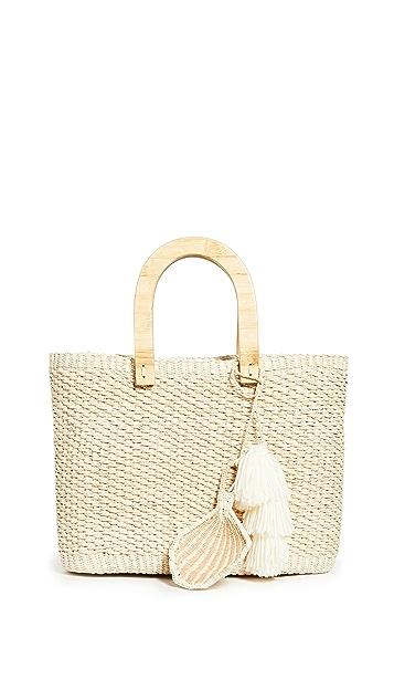 Sensi Studio Canasta Wooden Handle Bag