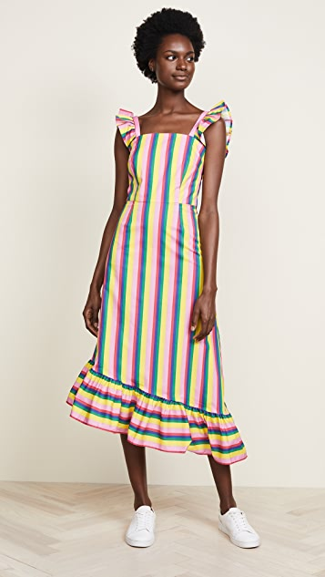 STAUD Valentina Stripe Dress