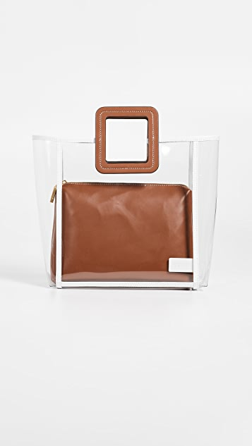 STAUD Framed Shirley Bag - Clear/Tan/Soft White