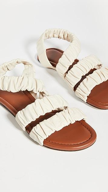 STAUD Ellie Ruched Sandals