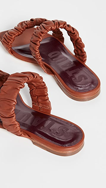 STAUD Maya Ruched Sandals