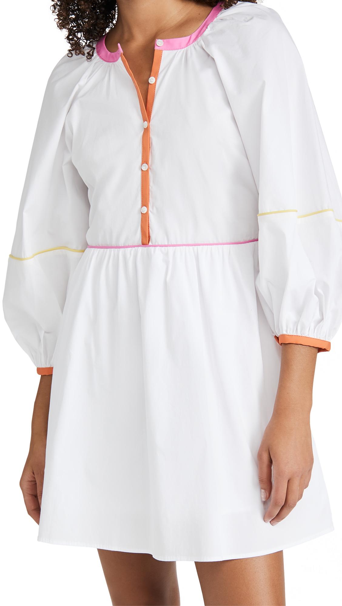 Staud Women's Demi Colorblock-trimmed Mini Dress In White/multi