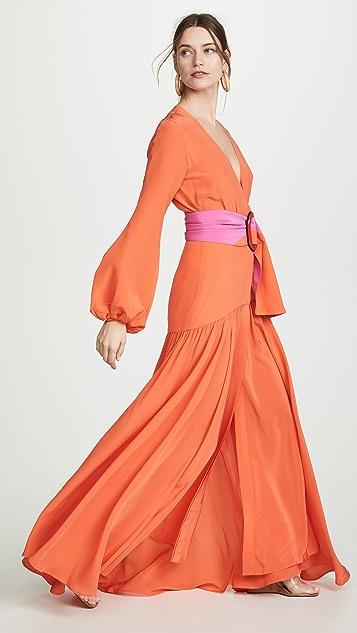 Silvia Tcherassi Платье Felicity с глубоким V-образным вырезом и поясом