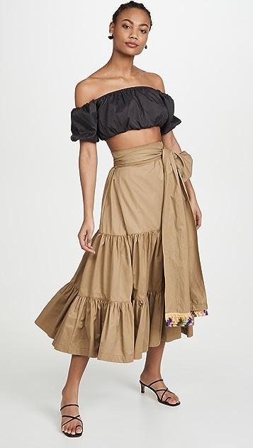 Silvia Tcherassi Michaela 层褶荷叶边半身裙