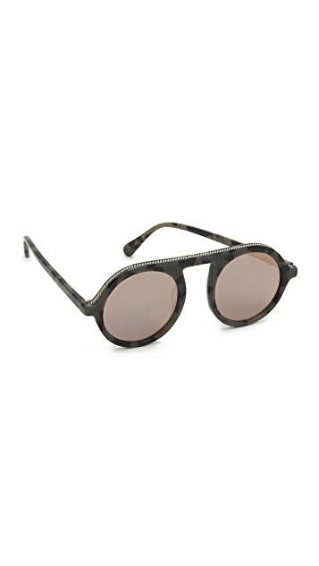 Stella McCartney Falabella Chain Round Mirrored Sunglasses