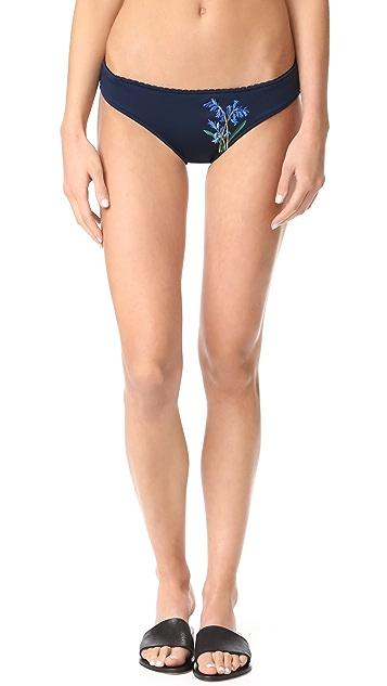 Stella McCartney Embroidered Floral Classic Bikini Bottoms