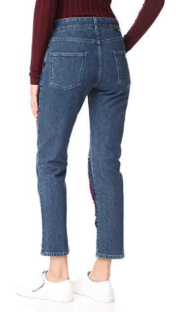 Stella McCartney The Boyfriend Velvet Ribbon Detail Jeans