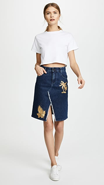 Stella McCartney Embroidered Denim Skirt