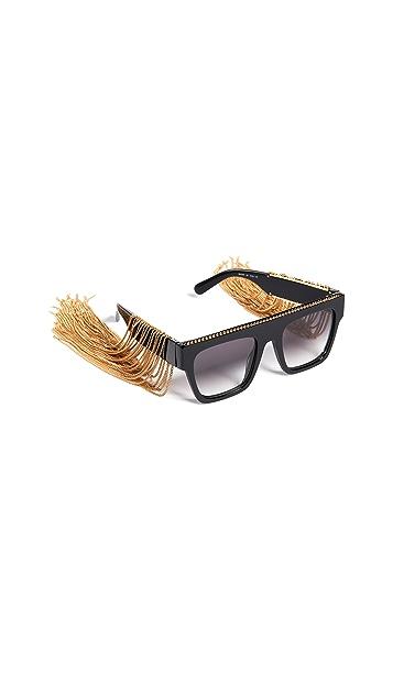 Stella McCartney Rectangular Sunglasses with Hanging Chain Detail