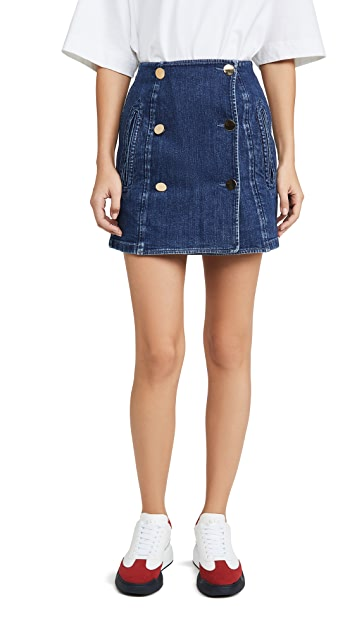 Stella McCartney Organic Dark Blue Button Skirt