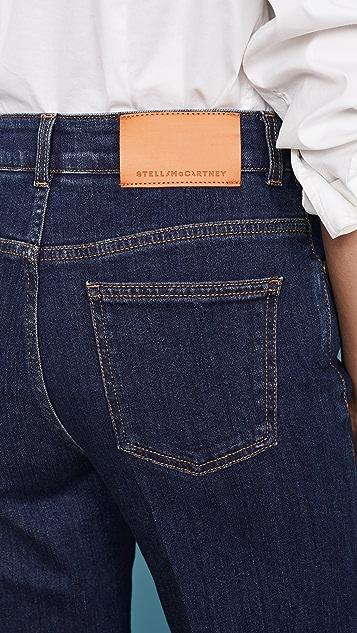 Stella McCartney 牛仔布环保深橙色 徽标印花牛仔裤