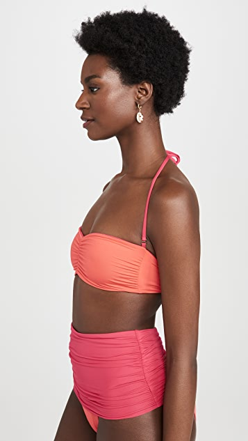 Stella McCartney Contrast Ruching Bandeau Bikini Top