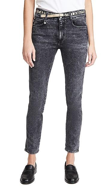 Stella McCartney 徽标腰带紧身男友风格牛仔裤