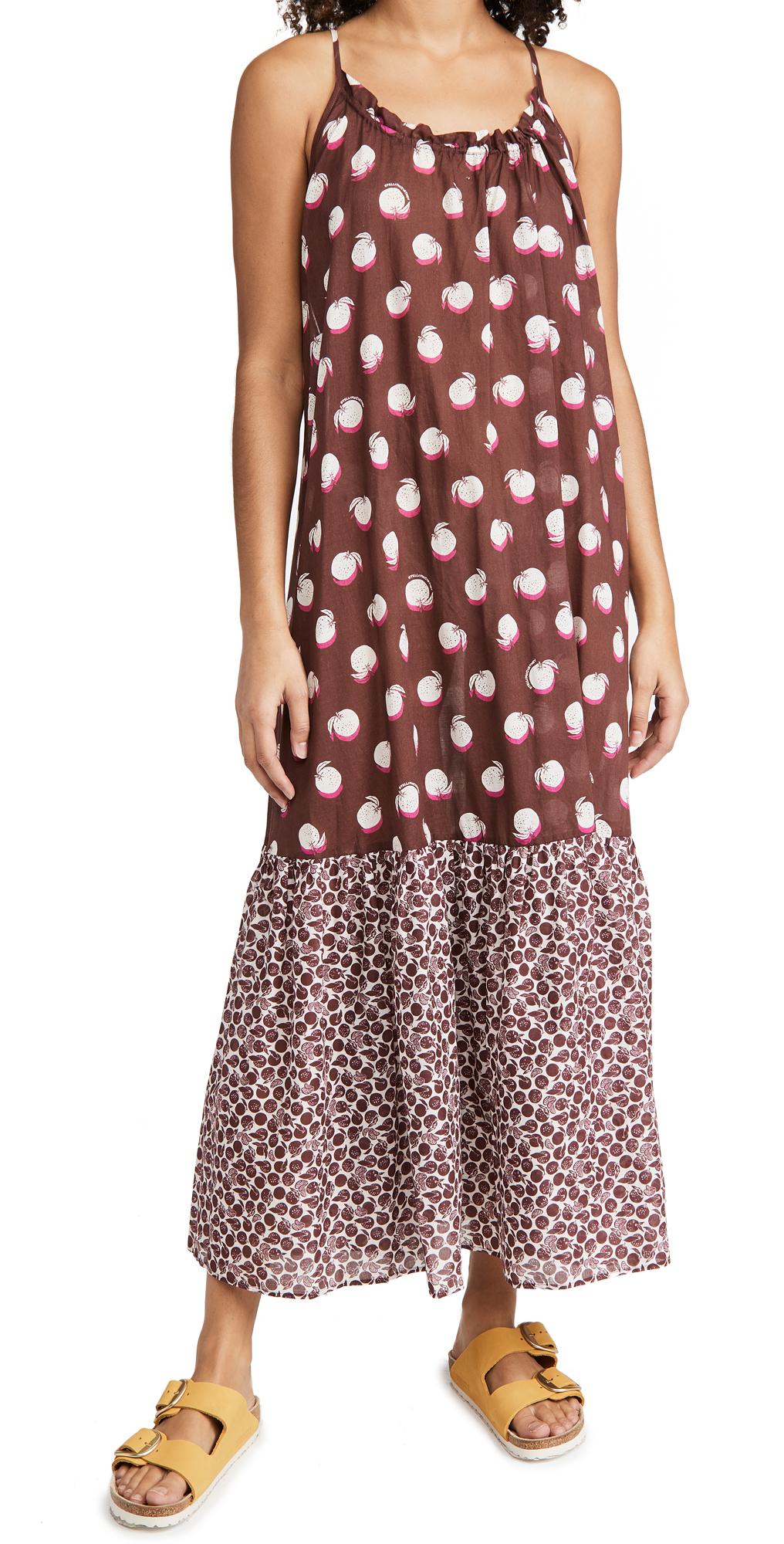 Stella McCartney Ruched Oranges Print Long Dress