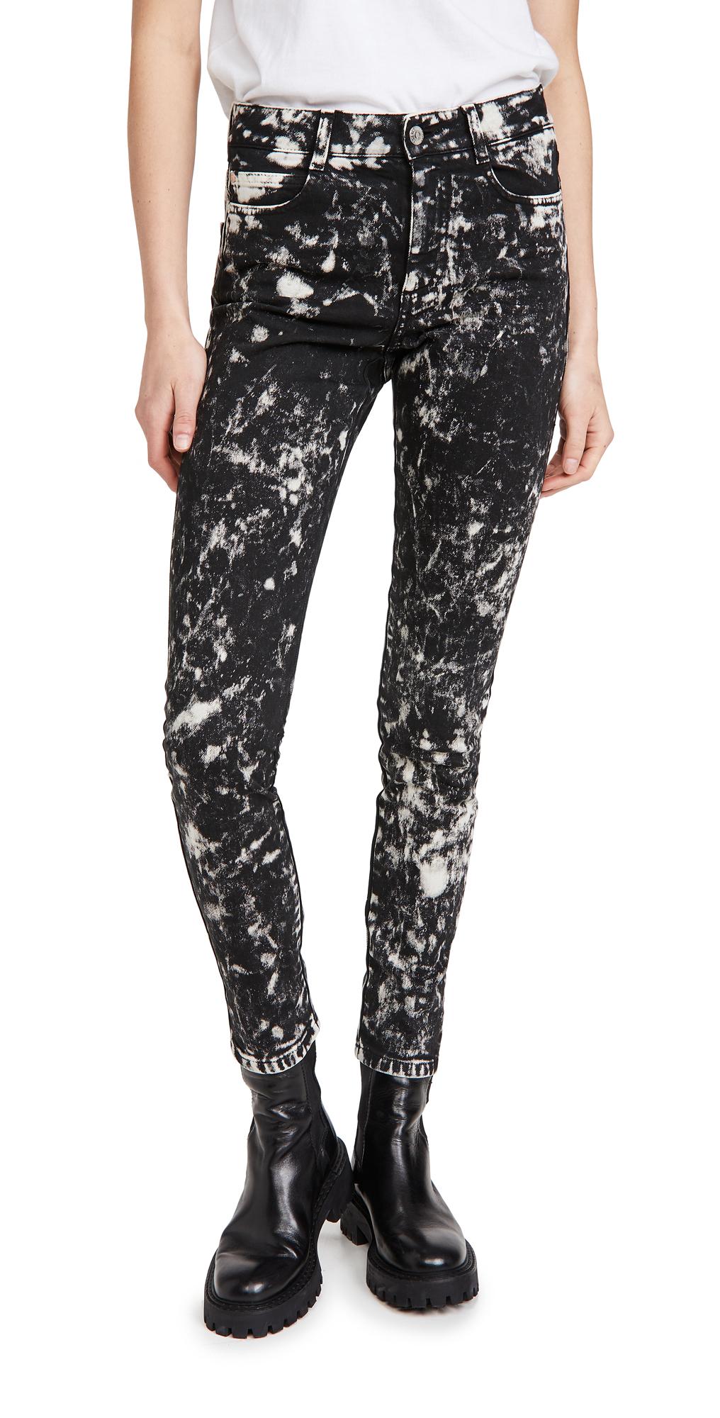 Stella McCartney High Rise Skinny Inside Out Black Galaxy Jeans