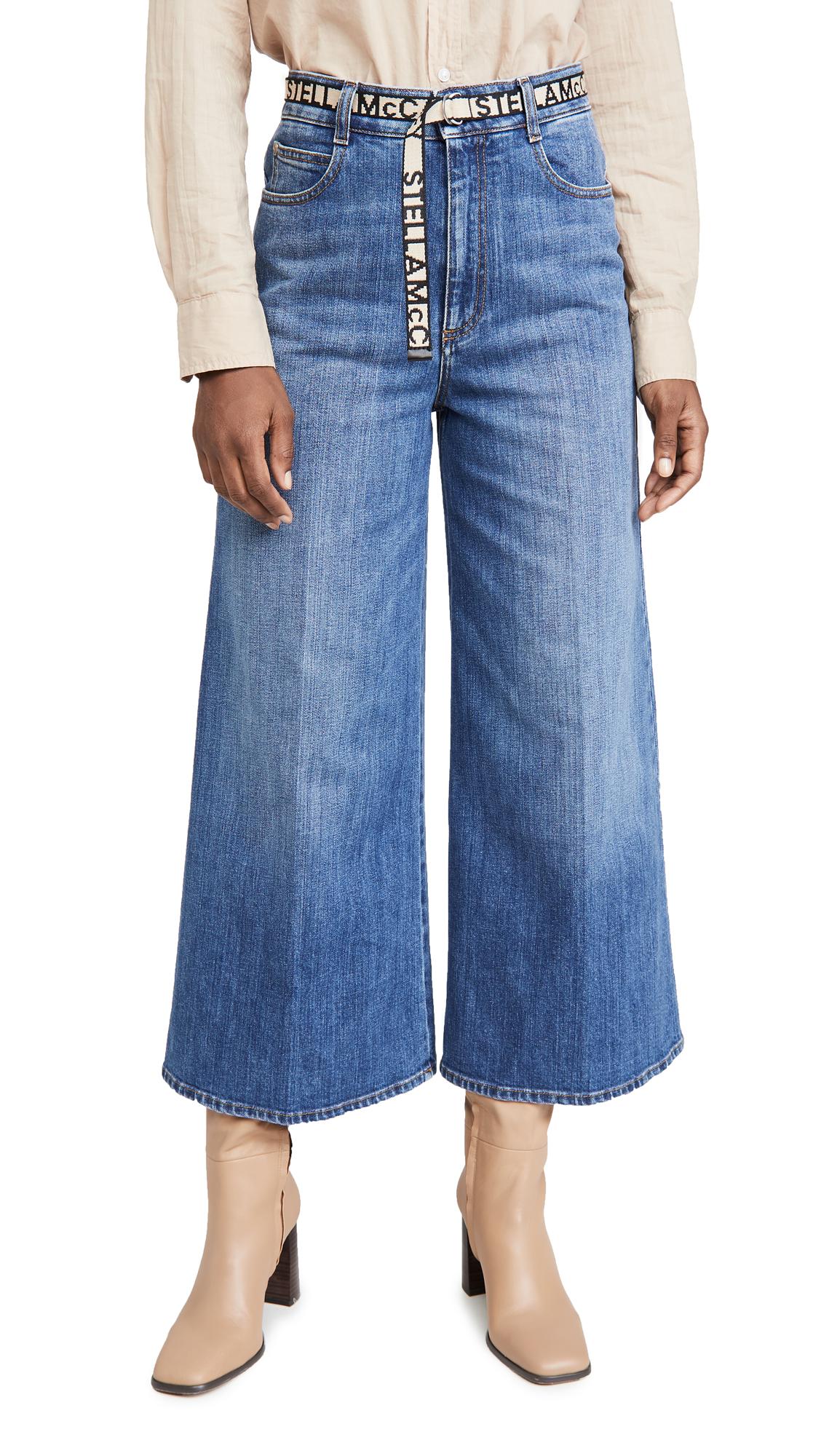 Stella McCartney High Rise Wide Leg Ecodark Stone Blue Jeans