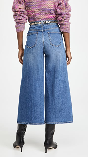 Stella McCartney High Rise Crop Straight Jeans With Logo Belt