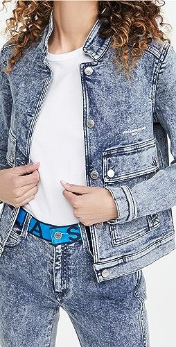 Stella McCartney - New 徽标印花蓝色盐洗夹克