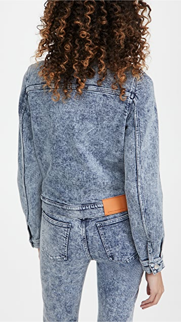 Stella McCartney New Jacket Blue Salt Wash With Logo Print