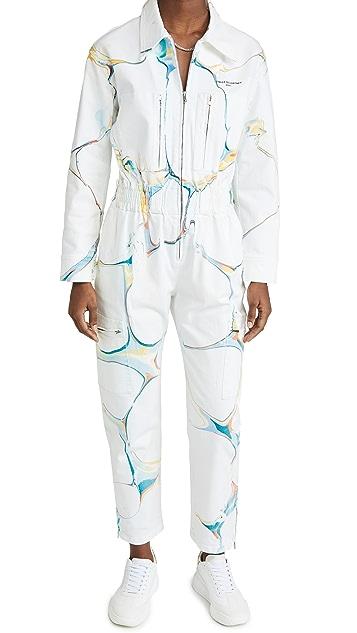 Stella McCartney New Aio Marble On White Jumpsuit