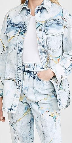 Stella McCartney - New Shirt Jacket Marble On Pale Blue Wash