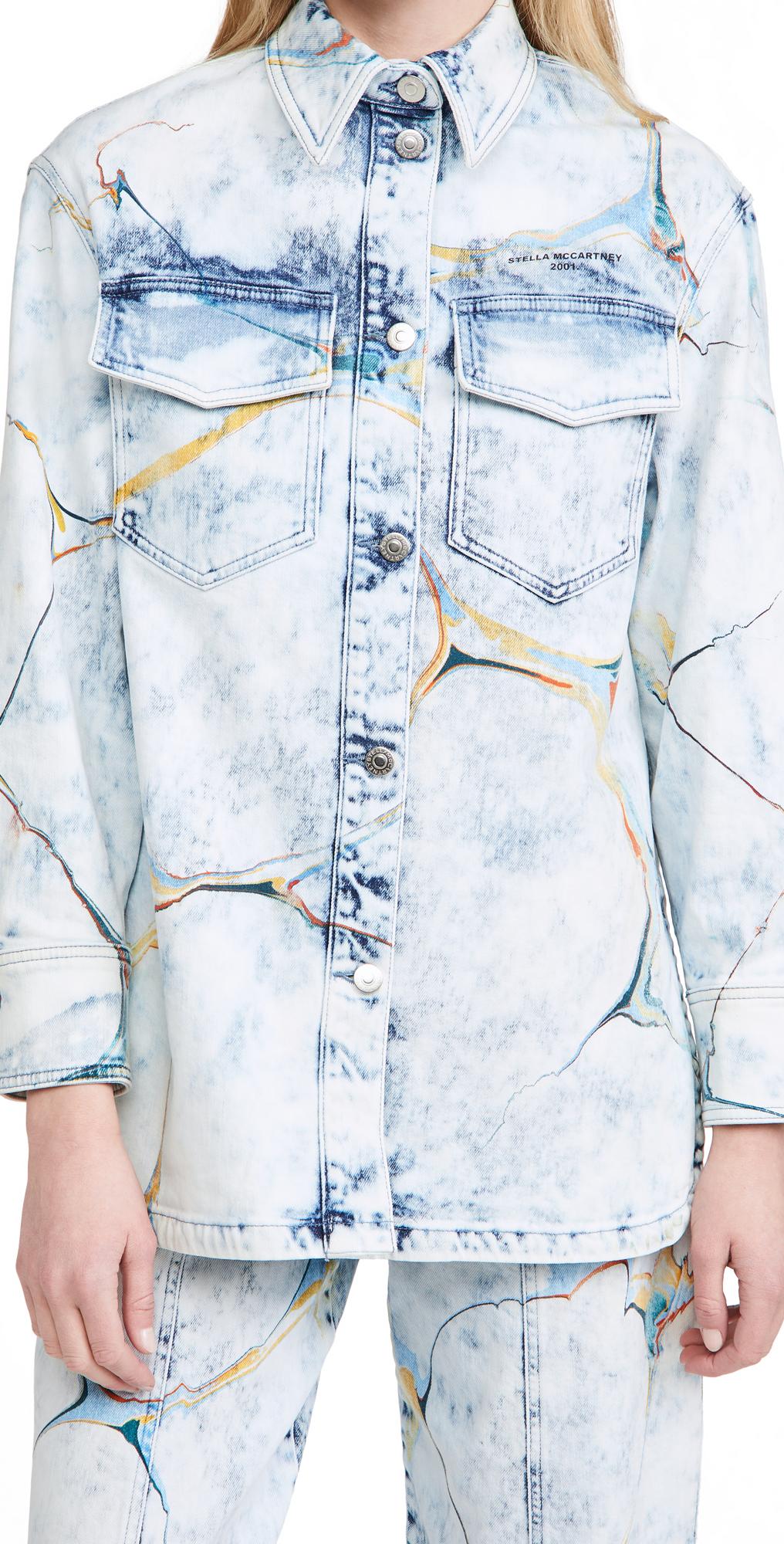 Stella McCartney New Shirt Jacket Marble On Pale Blue Wash