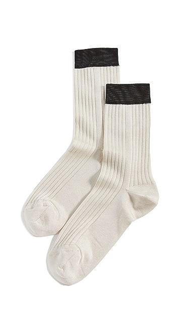 茎绿 罗纹袜子