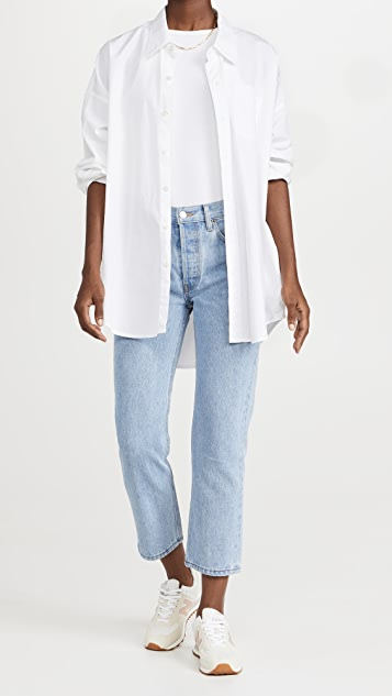 Still Here Black and White Tate Crop Jeans