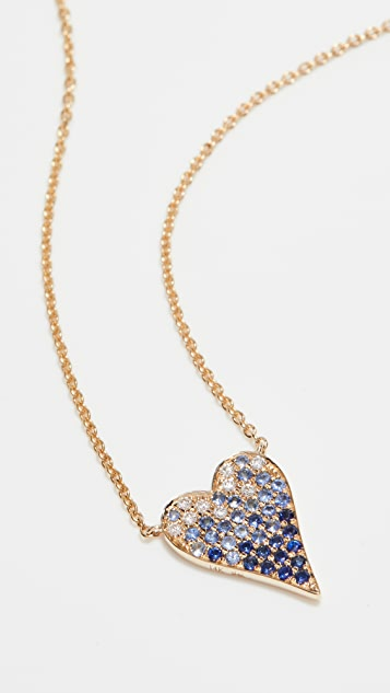Stephanie Gottlieb 14k Small Pave Ombre Heart Necklace