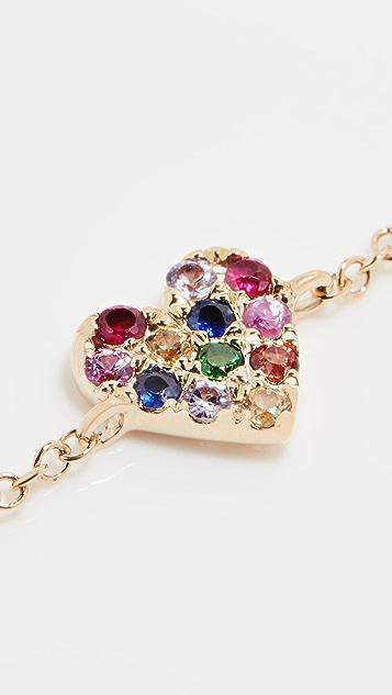 Stephanie Gottlieb 14k Mini Rainbow Heart Bracelet