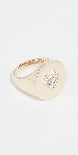 Stephanie Gottlieb - Pave Heart Signet Ring