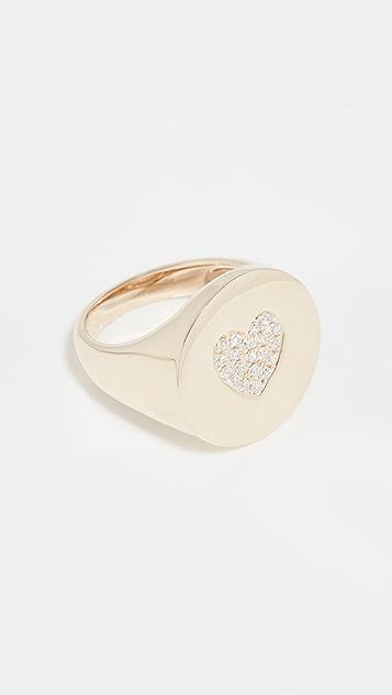 Stephanie Gottlieb Pave Heart Signet Ring