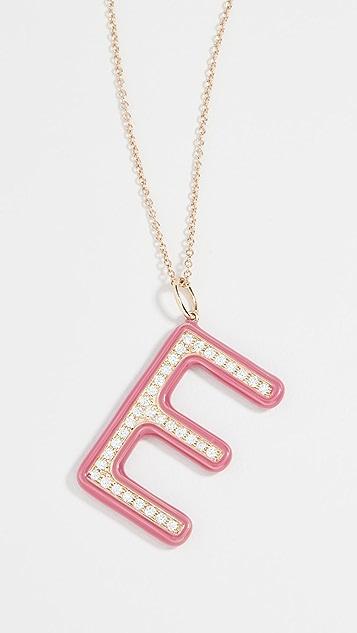 Stephanie Gottlieb Barbie 粉色珐琅和钻石首字母项链