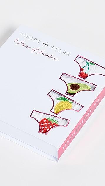 Stripe & Stare Fruit Bikini 4 Pack