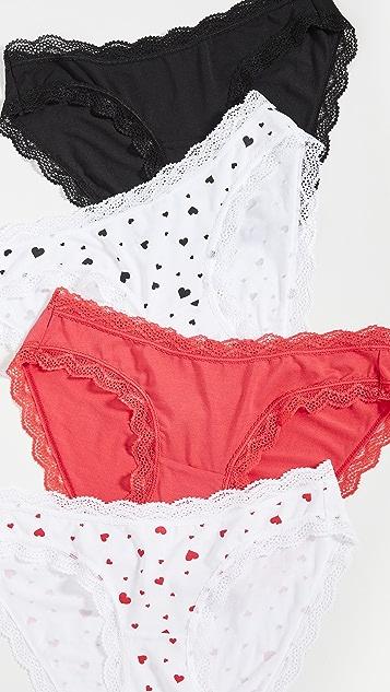 Stripe & Stare Scattered Hearts Bikini 4 Pack