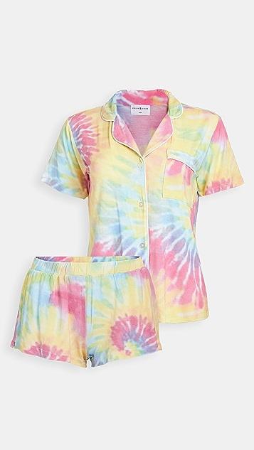Stripe & Stare Tie Dye Bedshort Pajama Set