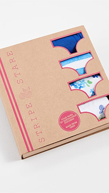Stripe & Stare Periwinkle Four Knicker Box Set