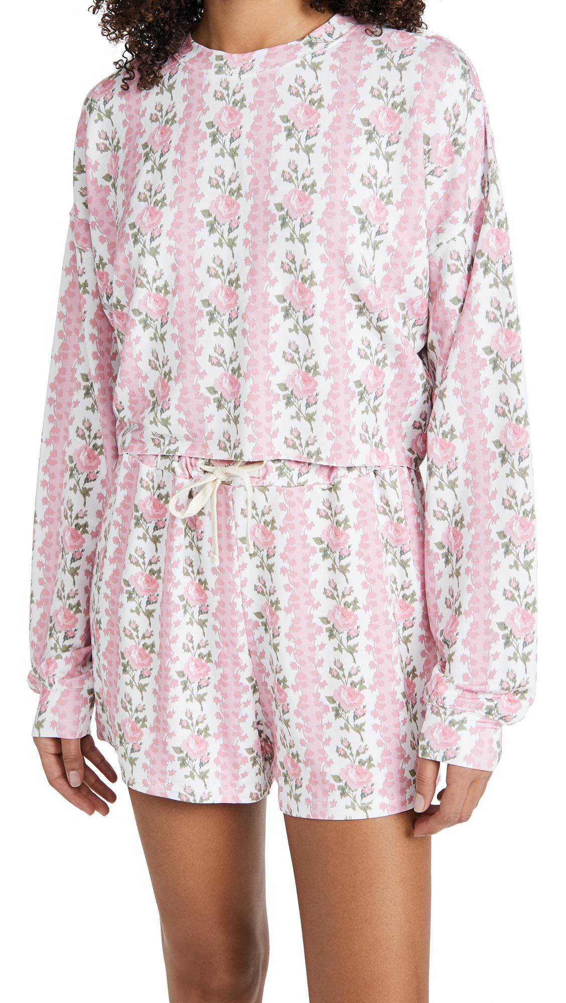 Stripe & Stare x LOVESHACKFANCY Cropped Sweatshirt & Shorts Set