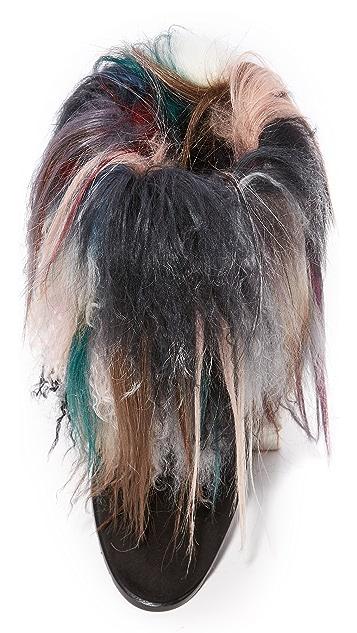 Stuart Weitzman Overcoat Layered Fur Booties