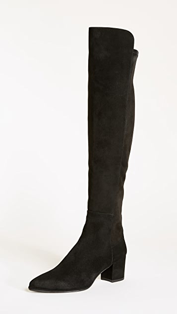 Stuart Weitzman Pointed-Toe Suede Knee-High Boots