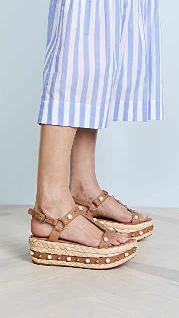 Stuart Weitzman Be Raffia Flatform Sandals - Miel
