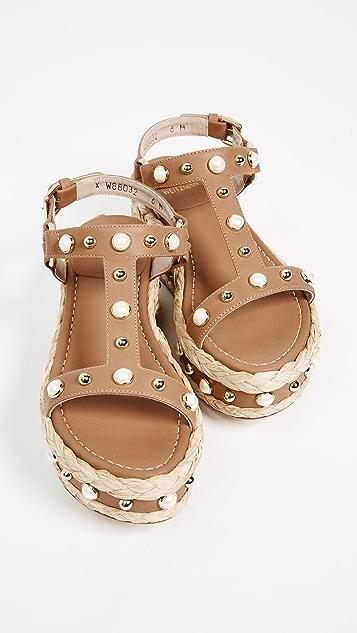 Stuart Weitzman Be Raffia Flatform Sandals