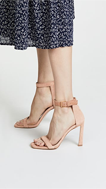 Stuart Weitzman Square Nudist 100mm Sandals