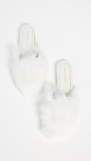 Stuart Weitzman Fur chic Slides