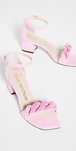 Stuart Weitzman - 50mm Amelina Block Chain Sandals