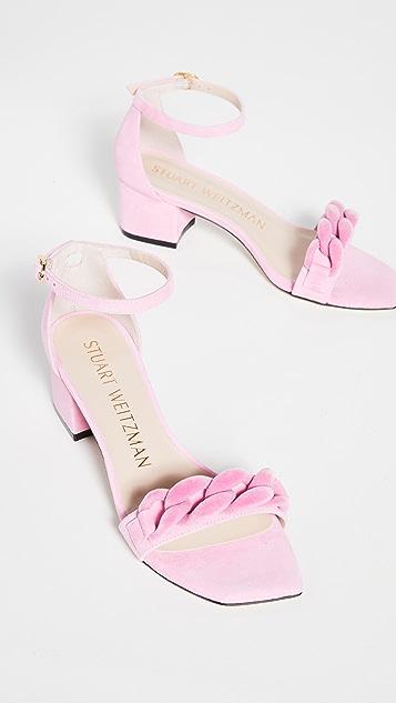 Stuart Weitzman 50mm Amelina Block Chain Sandals