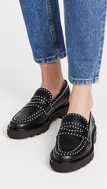 Stuart Weitzman Parker Lift Mini Pearl Loafers