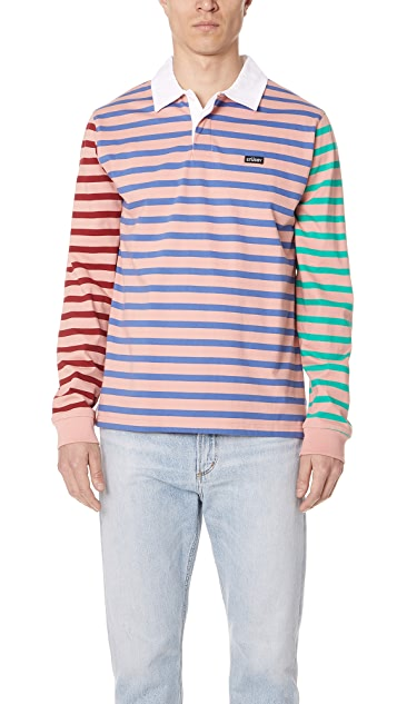 42fc799ac74 Stussy Jonah Stripe Long Sleeve Rugby Shirt | EAST DANE